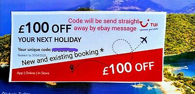 TUI £100 Off Voucher Code For 2020/2021 Holiday. Code send straight away!