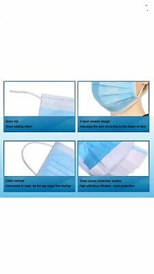 50 Disposable Surgical Face Mask For Virus &Flu Protection With Elastic Ear Loop