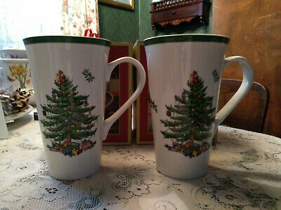A Pair Of Spode Christmas Tree Large Latte Mugs 0.59Ml New In Box Xmas Winter