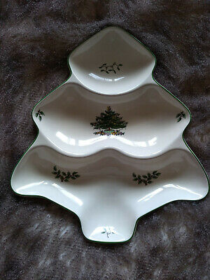 Spode Christmas Tree Large Tree Shaped Serving Platter Heavy Rare Winter Xmas