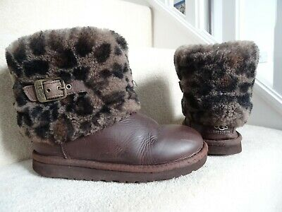 Genuine Ugg Brown Leather Short Style Ankle Flat Boots Size 2 / 33 Vg Condition