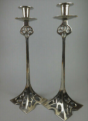 Pair Of Large WMF Style Art Nouveau Silver Plated Candlesticks