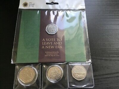 Brexit 2020 Mint Pack +1998 +1992/1993 Dual Dated + 1973 50P Eec - 4 Coin Bundle