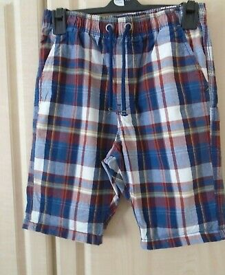 Next Boys  Blue Multi Check Shorts Age 11 100% Cotton Never Worn But Laundered