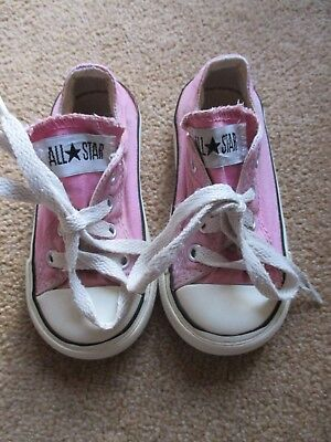 Girls Pink & White All Star Converse Infant Size Uk 6