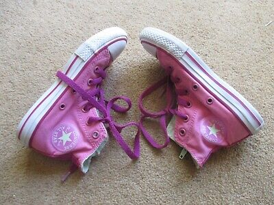 Girls Pink High Top All Star Converse Infant Size Uk 12 - Good Condition