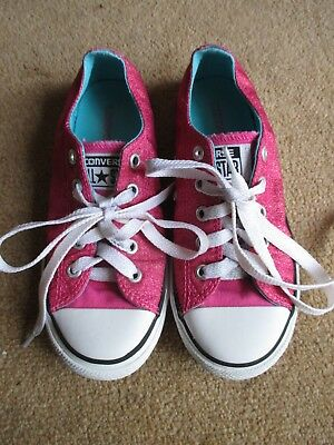 Girls Sparkly Pink All Star Converse Infant Size Uk 13
