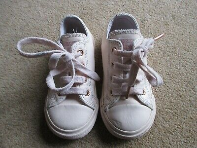 Girls Pink Leather All Star Converse Infant Uk Size 7