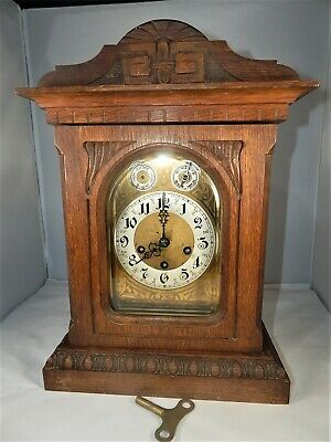 Antique Junghans Carved Solid Oak Westminster Chime Mantel Clock 1906