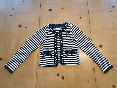 Le Chic Designer Girl's White Striped Smart Jacket Size 7 - 8 Years