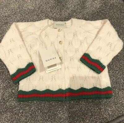 Baby Gucci Girls Cream Wool Cardigan 100% Genuine 6-9 Months Brand New With Tags