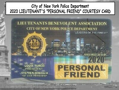 "3x 2020 NYC Police LIEUTENANTS ""PERSONAL FRIEND"" & LBA CARD -NOT PBA SBA CEA DEA"