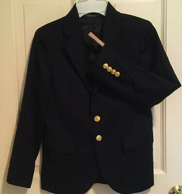 Polo Ralph Lauren Boy's Navy Blue Blazer Jacket 100% Wool Lined Italy Size 8