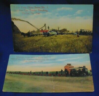 Posted 1910 Two Modern Farm Horse Series Hart-Parr Gas Tractor Dakotas postcards