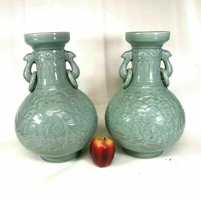 Large Decorative Pair of Mid 20th Century Chinese Celadon Glaze Carved Vases