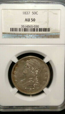 1837 Reeded Edge Capped Bust Half Dollar, NGC AU50 *NO RESERVE*