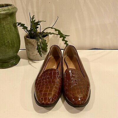 OFFICE PATENT Mock Croc LEATHER FLAT LOAFER Brown SHOES Vintage Style SIZE UK 8