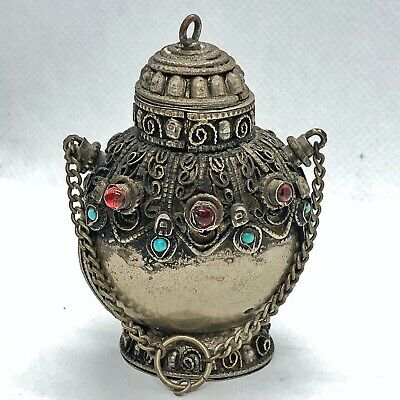 Authentic Islamic Antique Eyliner Container - Middle Eastern Silver Tone Jar Old