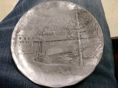 Wendell August Covered Bridge: Handmade, Hand forged, Antique Aluminum plate.