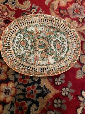 Antique Chinese Canton Porcelain Famille Rose Medallion Reticulated Plate