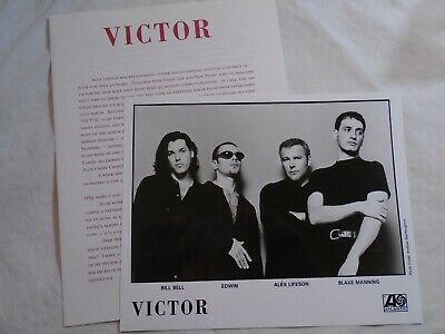 Victor band press kit Alex Lifeson Rush side project with black and white photo