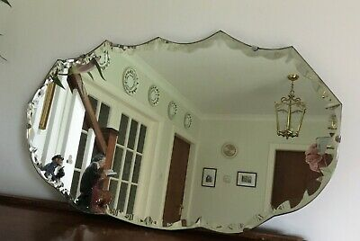 Vintage 1938 Art Deco Bevelled Glass Mirror