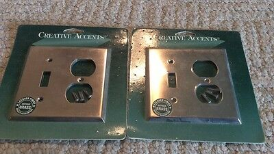 """Creative Accents Antique Brass 2 Gang Toggle Switch Outlet Wall Plates 5"""" X 4.5"""""""