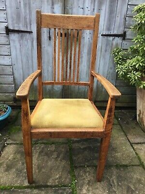 Oak dining chair with arms, arts and crafts style