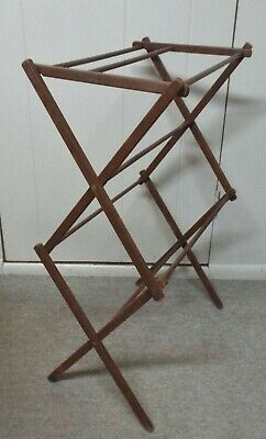 Vintage Wood Folding Clothes Laundry Drying Rack, Quilt, Herbs, Candles