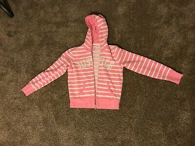Girls Pink White Silver Striped Justice Zip Up Hooded Jacket Size 12