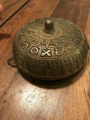 Victorian Ornate Antique Cast Iron Brass Bell Pat July 4 1875 & Pat Jan 10 1882
