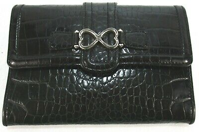 BRIGHTON Black Leather Trifold Croco Organizer Wallet Cards Cash Purse