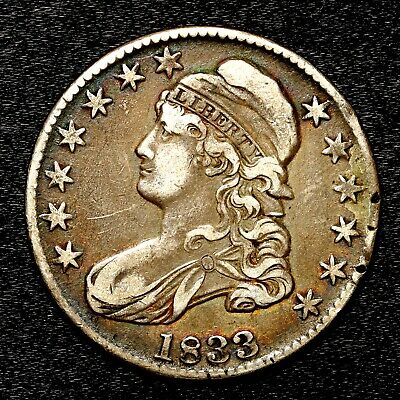 1833 ~**BETTER GRADE**~ Silver Capped Bust Half Dollar Antique US Old Coin! #513