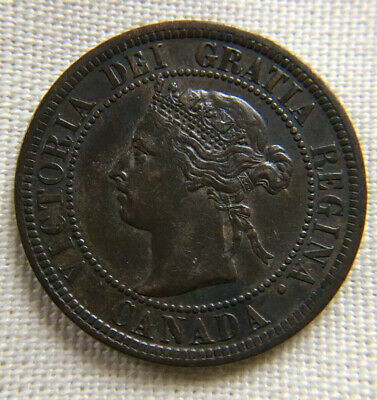 Canada 1901 Large Cent Victoria EF XF Original Toning Canadian Penny