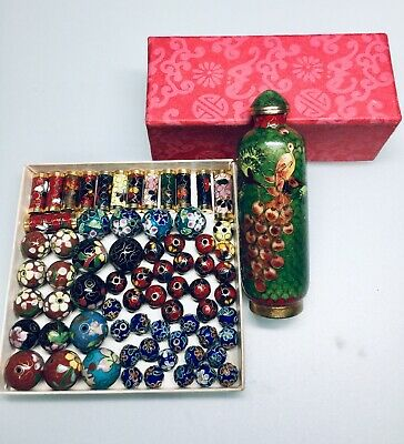 Lot of 70pc Vintage Chinese Exquisite Enamel Cloisonne Snuff Bottle, Beads Mixed