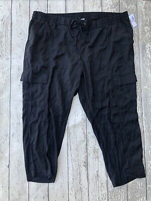 NWT Old Navy Solid Black Cargo Pants Women's XXL