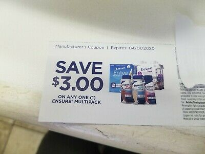 10 Coupons - Save $3 Off Ensure Multipack  $30 value Exp 04/01/2020