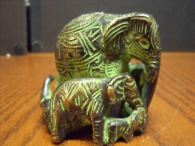 Elephant Family of Five Figurine Solid Brass Hand Carved Statue desk paperweight