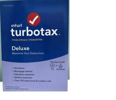 TurboTax Deluxe 2019 - Federal ONLY - PC/Mac Disc - NEW & SEALED!