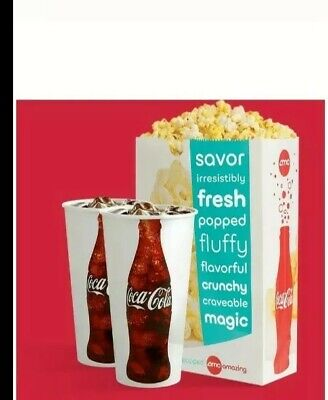 AMC Theaters (2x) Lrg Drinks and (1x) Lrg Popcorn barcodes ||   2 Hr. Delivery