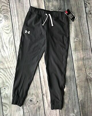 NWT Under Armour Girls Youth M Jogger Black Light Weight Cuff Ankles NEW