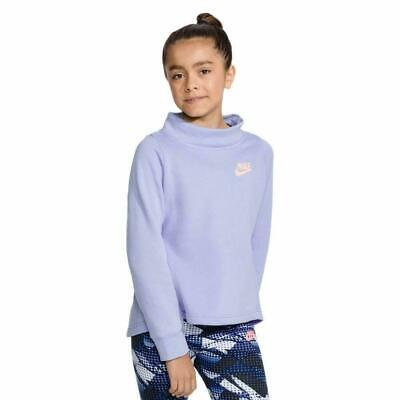 Nike NSW Long Sleeve Fleece Pullover Crew Sweater Girl's Purple 940344-477 NEW