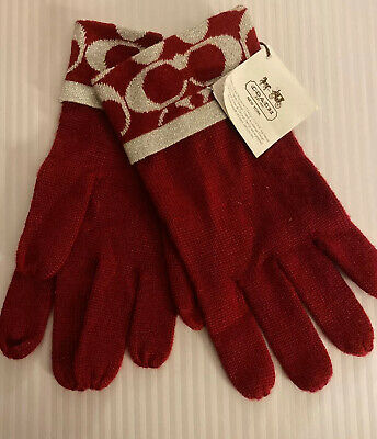 COACH Signature Red/Silver Metallic Acrylic Blend Knit Gloves One Size NWT