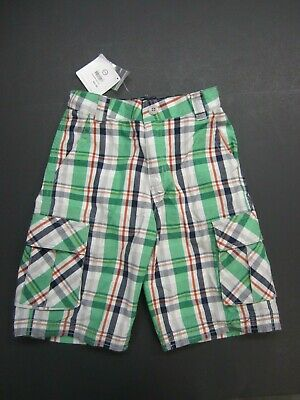 Boys Hanna Andersson Plaid Cargo Shorts 130 New Blue Green Red