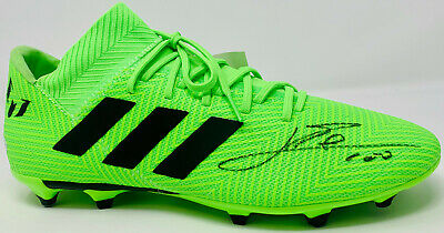Leo Lionel Messi Signed Adidas Soccer Barcelona Green Cleat Beckett BAS COA