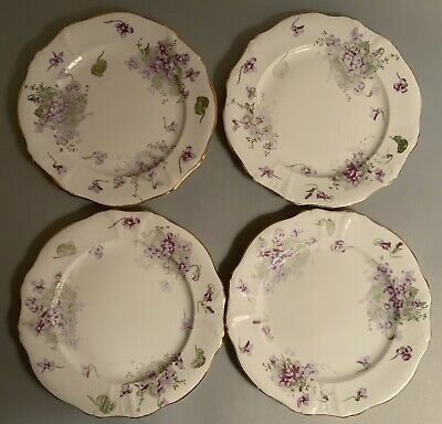 "Set Of 4 Hammersley Victorian Violets 8""  Dessert Plate Fine Bone China England"