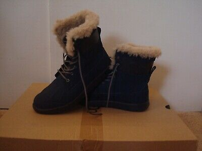 UGG Navy Blue Suede Nubuck Genuine Leather Women Girls Ankle Warm Boots 5 1/2