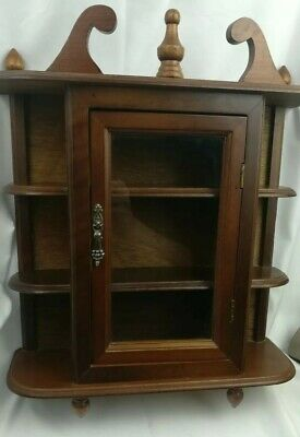 Antique Curio Cabinet Wall Hang or sits on Mantle. Glass door, 3 shelf, dark