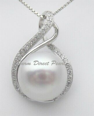 925 Sterling Silver Simulated Emerald Cultured Freshwater Pearl Pendant Necklace