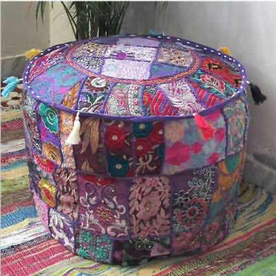 """Foot Stool Cover Indian Vintage Ottoman Pouf Patchwork Ottoman Living Room""""18"""